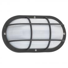 Sea Gull 89806BLE-12 - One Light Fluorescent Outdoor Bulkhead Wall Fixture in Black Finish with Frosted Diffuser
