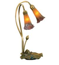 "Meyda Tiffany 13008 - 16""H Amber/Purple Pond Lily 2 LT Accent Lamp"