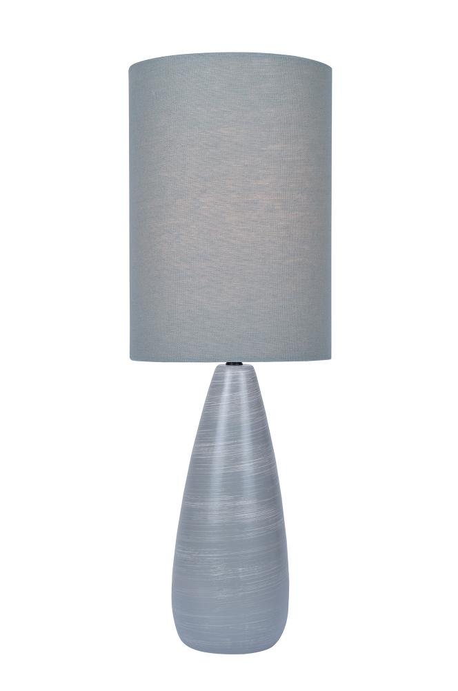 Table Lamp, Brushed Grey/Grey Linen Shade, E27 Cfl 13W