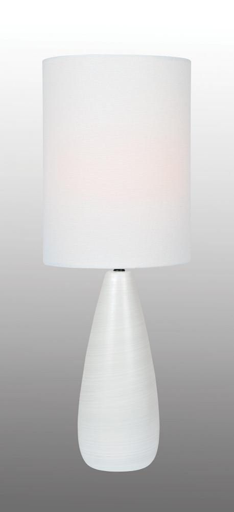 Table Lamp, Brushed White/White Linen Shade, E27 Cfl 13W