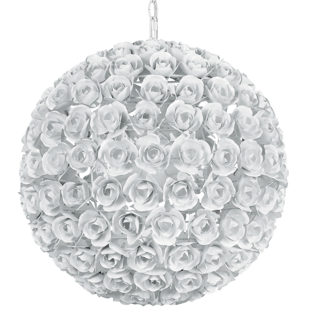 Crystorama Cypress 5 Light White Rose Sphere Chandelier