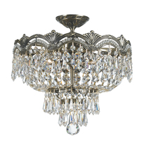 Crystorama 1483-HB-CL-MWP - Crystorama Majestic 3 Light Hand Cut Crystal Semi-Flush