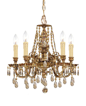Crystorama 2805-OB-GT-MWP - Crystorama Novella 5 Light Golden Teak Crystal Brass Mini Chandelier