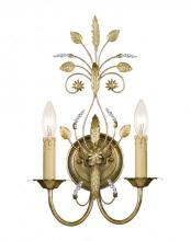 Crystorama 4702-GL - Crystorama Primrose 2 Light Faceted Crystal Gold Sconce