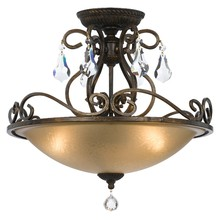 Crystorama 5010-EB-CL-MWP - Crystorama Ashton 3 Light Hand Cut Crystal Bronze Ceiling Mount