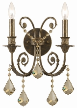 Crystorama 5112-EB-GT-MWP - Crystorama Regis 2 Light Golden Teak Crystal Bronze Sconce