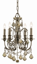 Crystorama 5114-EB-GT-MWP - Regis 4 Light Golden Teak Crystal Bronze Mini Chandelier