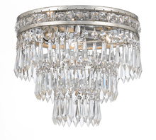 Crystorama 5260-OS-CL-MWP - Crystorama Mercer 3 Light Clear Crystal Silver Flush Mount