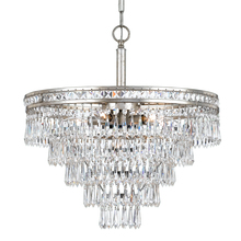 Crystorama 5264-OS-CL-MWP - Crystorama Mercer 6 Light Hand Cut Crystal Silver Convertible Chandelier