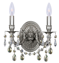 Crystorama 5522-PW-SSS - 2 Light Pewter Sconce