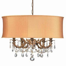 Crystorama 5535-AG-SHG-CLM - Crystorama Gramercy 5 Light Brass Gold Drum Shade Mini Chandelier