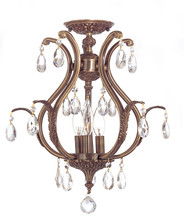 Crystorama 5560-AB-CL-MWP_CEILING - Crystorama Dawson 3 Light Clear Crystal Brass Semi-Flush