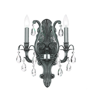 Crystorama 5563-PW-CL-MWP - Crystorama Dawson 2 Light Golden Teak Crystal Pewter Sconce II