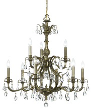 Crystorama 5569-AB-CL-MWP - Crystorama Dawson 9 Light Clear Crystal Brass Chandelier I