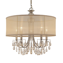 Crystorama 5625-AB - Crystorama Hampton 5 Light Drum Shade Brass Chandelier