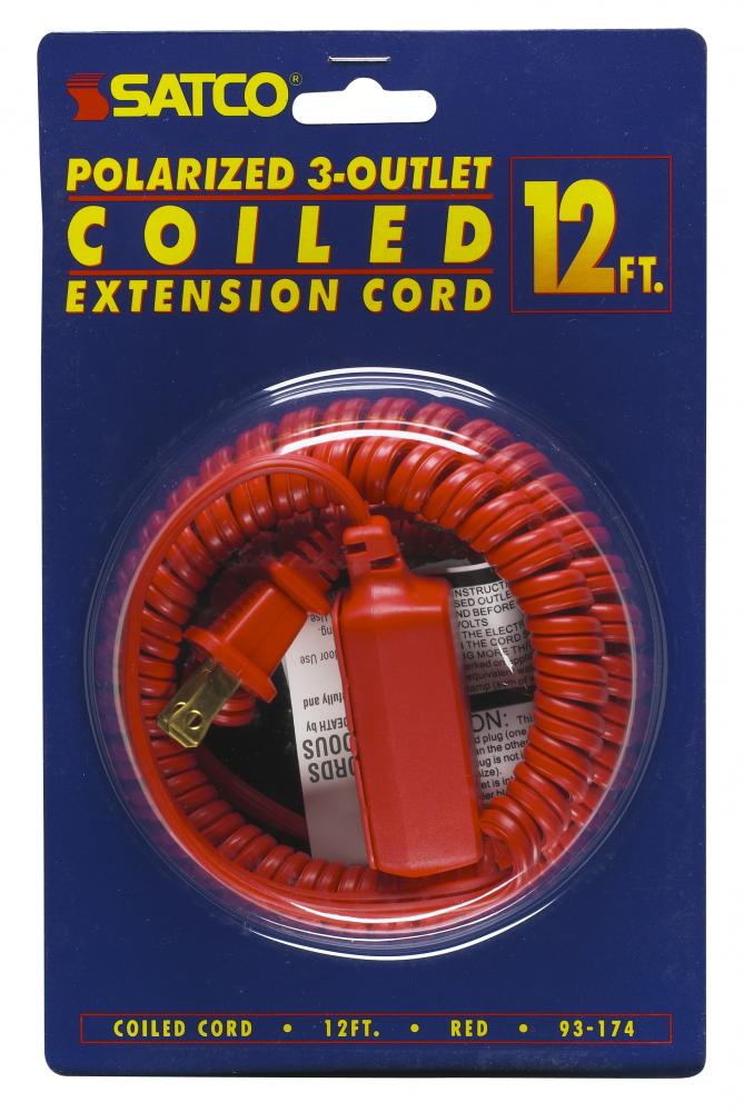 12 FT. Coiled (Extended) Extension CordsAll extension cords rated at 13A 125V 1625 watts maximum and
