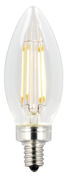 4-1/2W B11 Filament LED Dimmable 2700K E12 (Candelabra) Base, 120 Volt, Box