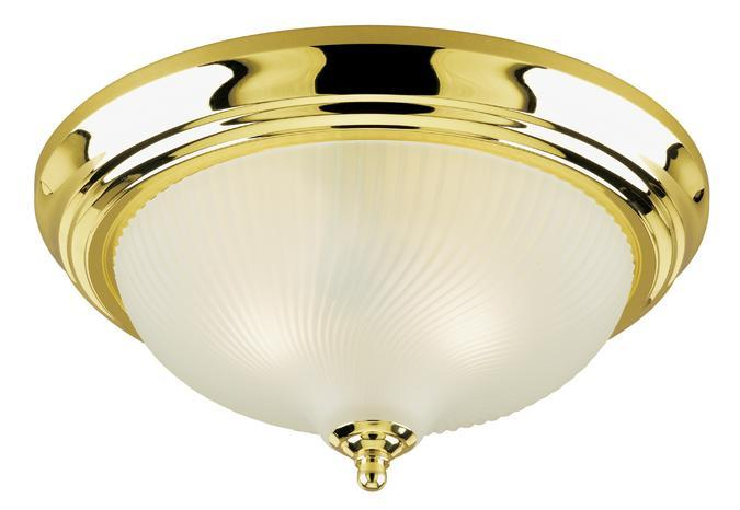 2 Light Flush Polished Brass Finish with Frosted Swirl Glass