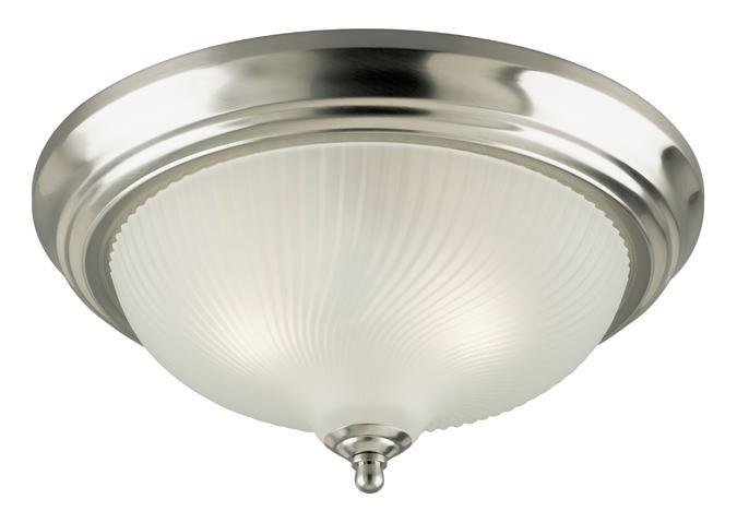 2 Light Flush Brushed Nickel Finish with Frosted Swirl Glass