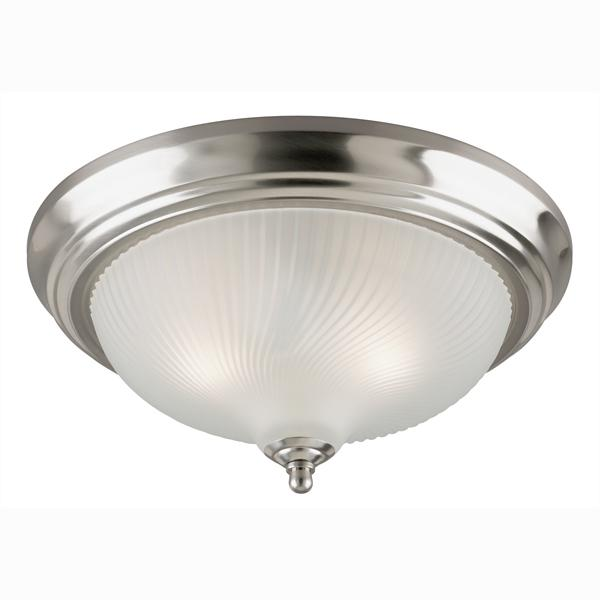 Manteca Lighting in Manteca, California, United States,  A7L3, 2 Light Flush Brushed Nickel Finish with Frosted Swirl Glass,