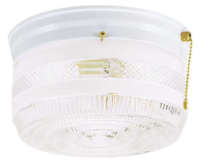 Manteca Lighting in Manteca, California, United States,  AAH2, 2 Light Flush with Pull Chain White Finish with White and Clear Glass,