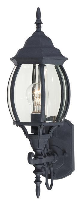 Manteca Lighting in Manteca, California, United States,  AAJM, 1 Light Wall Lantern Textured Black Finish with Clear Curved Beveled Glass,