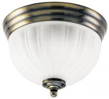 Westinghouse 6731400 - 2 Light Flush Ceiling Fixture Antique Brass Finish with White Glass
