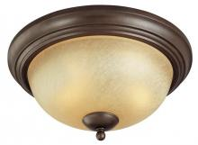 Westinghouse 6945000 - 2 Light Flush Ceiling Fixture Saddle Bronze Finish with Antique Amber Scavo Glass