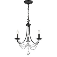 Golden 7644-M3 BLK - Mirabella Collection 3-Light Mini Chandelier in Black