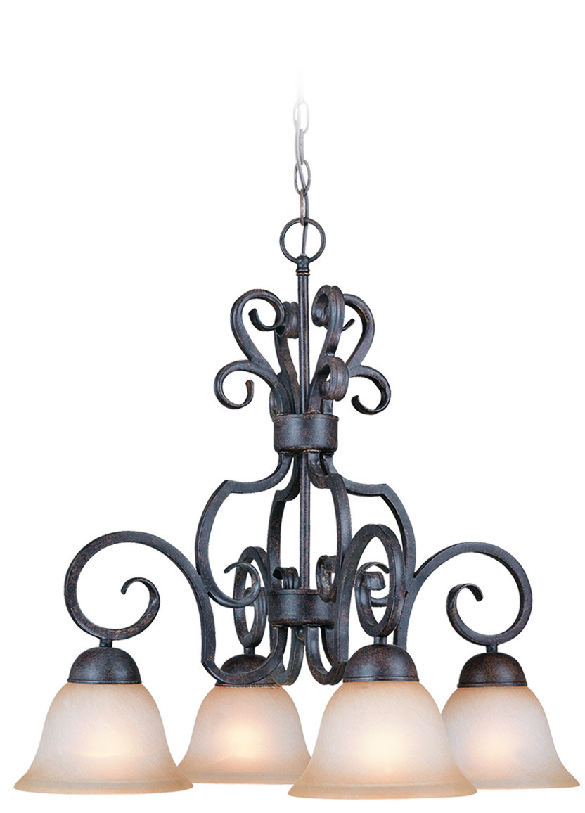 Manteca Lighting in Manteca, California, United States,  47MF, Sheridan 4 Light Down Chandelier in Forged Metal, Sheridan