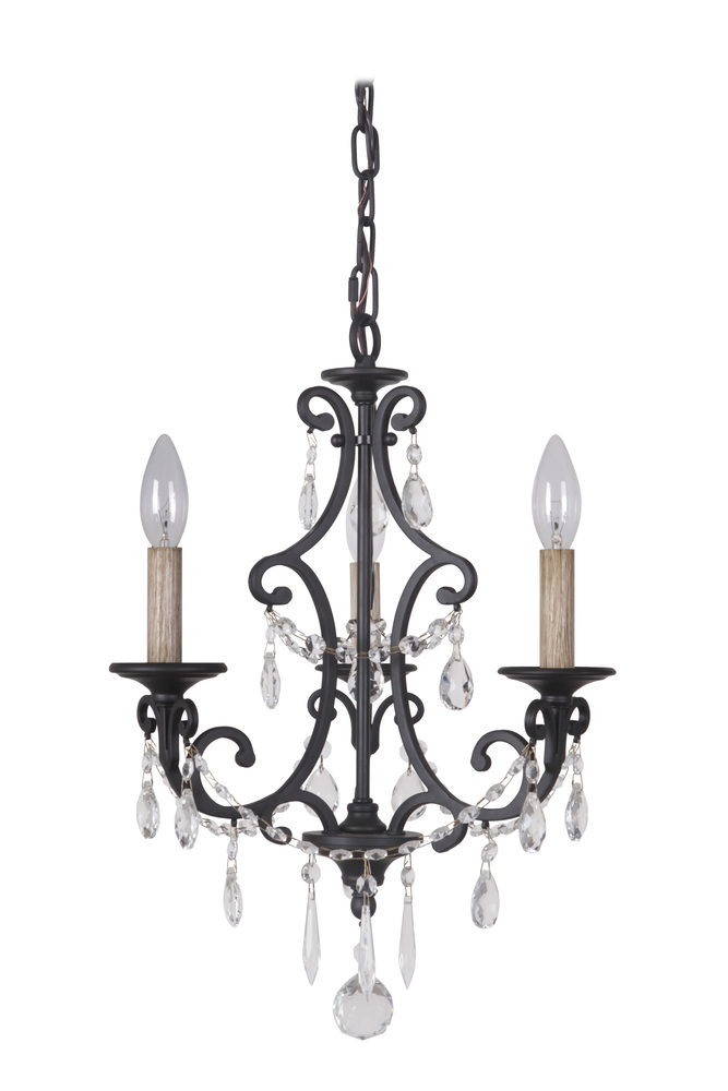 Bentley 3 Light Chandelier in Matte Black
