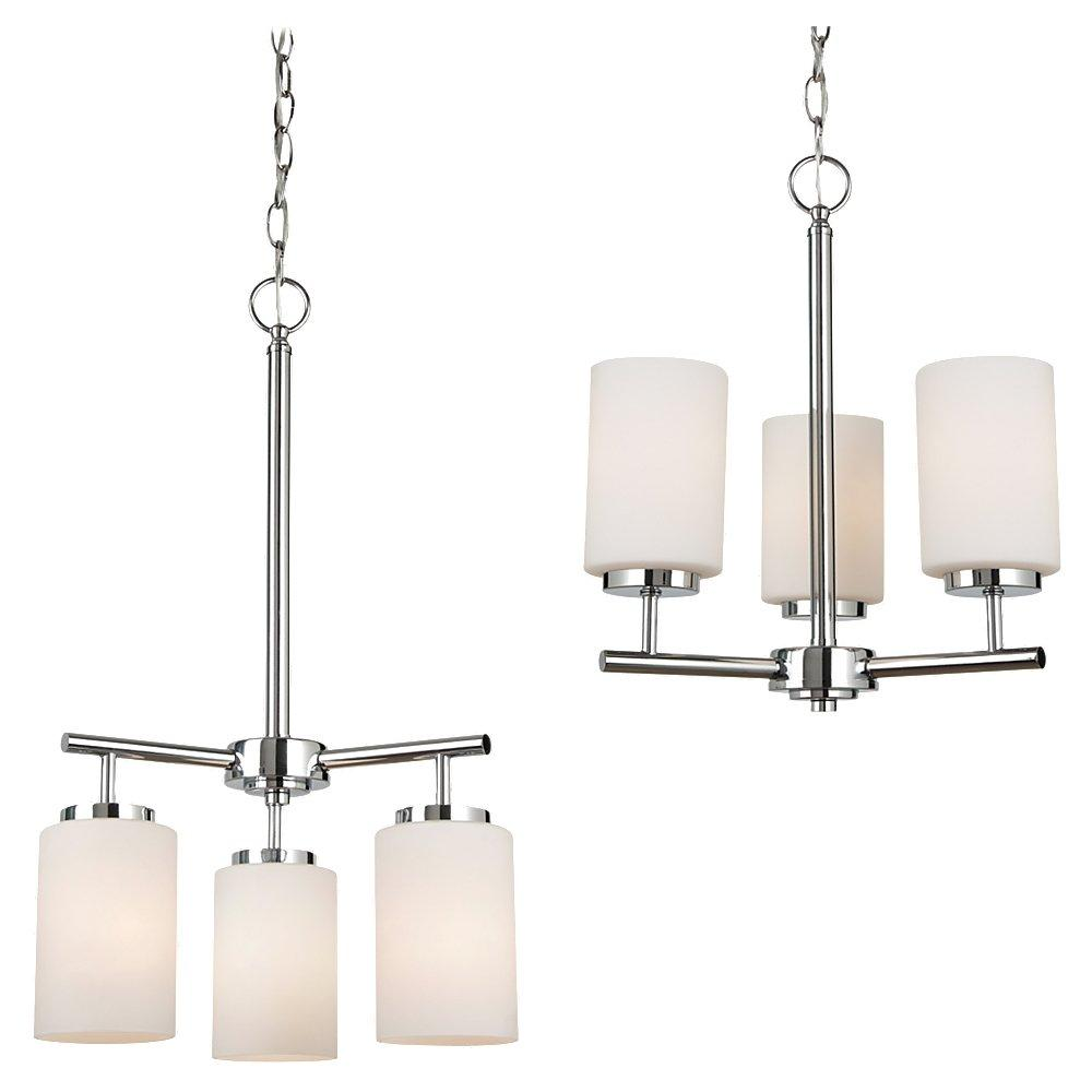 Fluorescent Three Light Chandelier in Chrome Finish with Cased Opal Etched Glass